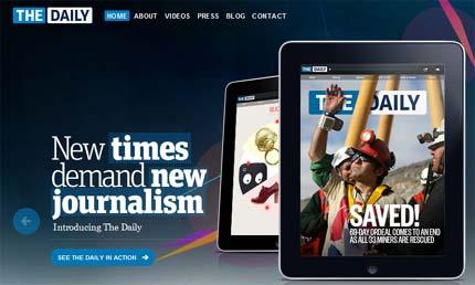 """Portada del sitio de """"The Daily"""" que muestra una edición de ese medio en un iPad; en la portada, los mineros chilenos."""