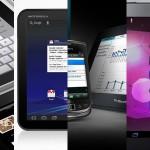De izquierda a derecha, los tablets en el mercado: iPad de Apple, Xoom de Motorola, Playbook de RIM y Galaxy Tab de Samsung