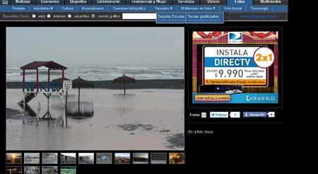 Imagen de Emol.com que muestra el avance del agua debido a las ondas que llegan del tsunami, en la playa de Iloca.