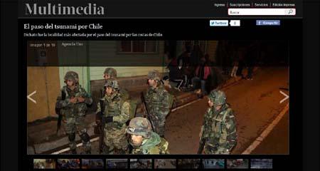 Imagen de LaTercera.com que muestra a soldados patrullando en Dichato en la noche en que se esperaba el tsunami.