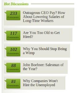 La imagen muestra cómo en Bnet se muestra de manera ordenada los artículos con más comentarios.