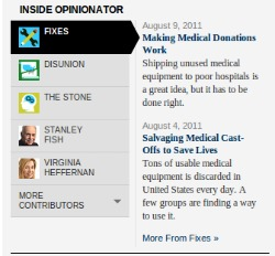 La imagen muestra los artículos de opinión en diferentes temas