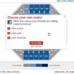 Plano del recinto ofrecido por Ticketmaster, vinculando los asientos con las identidades de los usuarios en Facebook.