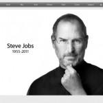 Portada del sitio Apple con la imagen de Steve Jobs
