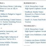 La imagen muestra una vista de la sección de noticias, ordenada por categoría. La falta de jerarquización atentaba contra la lectura.