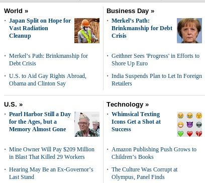 La imagen muestra una vista de la sección de noticias más ordenada gracias al uso de jerarquía editorial marcada por el uso de imágenes y un título principal.