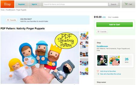 Interfaz de Etsy.com, el sitio de manualidades a la venta