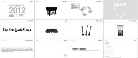 El sitio de la empresa de diseño Atlason.com; todo a tamaño de dedo.