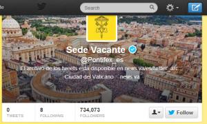 La cuenta de Twitter también muestra la Sede Vacante.