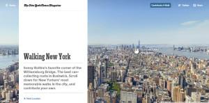 La portada del sitio Walking New York, con la imagen panorámica de la ciudad