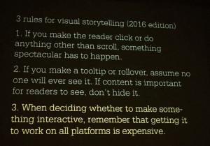 Las tres reglas presentadas por Archie Tse para las infografías y visualizaciones de datos en su charla