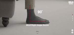 La pantalla que va mostrando los calcetines de Muji