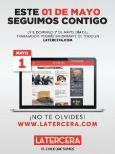 Aviso aparecido en el Diario La Tercera (edición de papel) en relación con el 1 de Mayo