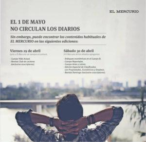 Aviso aparecido en el Diario El Mercurio (edición de papel) en relación con el 1 de Mayo