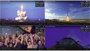 Diferentes etapas del vuelo del cohete Falcon Heavy de SpaceX, incluyendo la celebración del equipo.